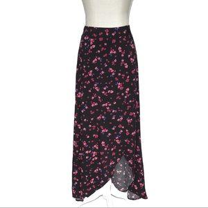 NWT Express Black Floral High Low Maxi Skirt XS